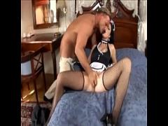 XXX sexual video category lingerie (448 sec). Maid fucking in her uniform and fishnet stockings.