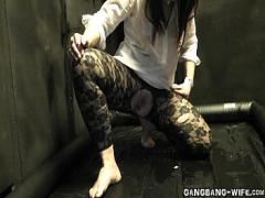 Genial sexual video category cumshot (312 sec). Piss slut gangbanged and pissed on.