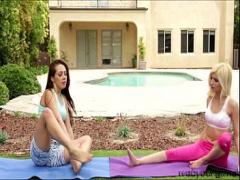 Free videotape recording category lesbian (330 sec). When yoga turns into a hot pussy play with sexy ladies.