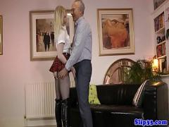 XXX video category stockings (600 sec). Classy euro schoolgirl riding old mans cock.